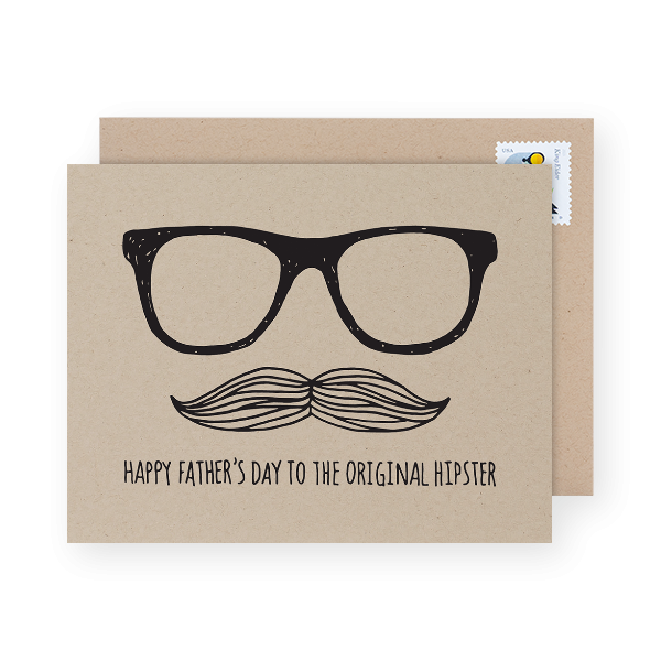 original hipster dad day card