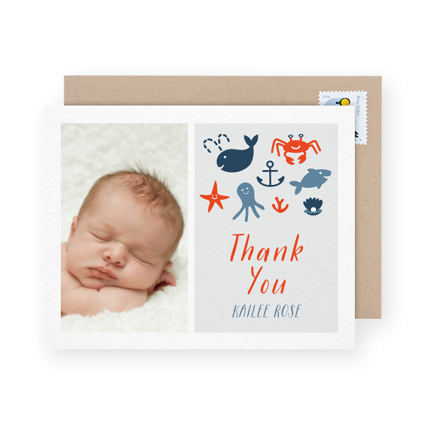 illustrated photo baby shower thank you