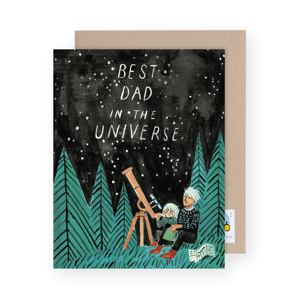best dad in the universe greeting card