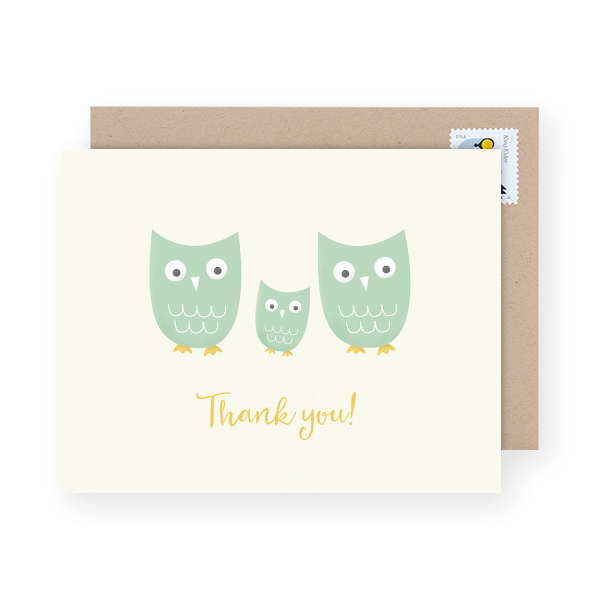 owl family baby shower thank you
