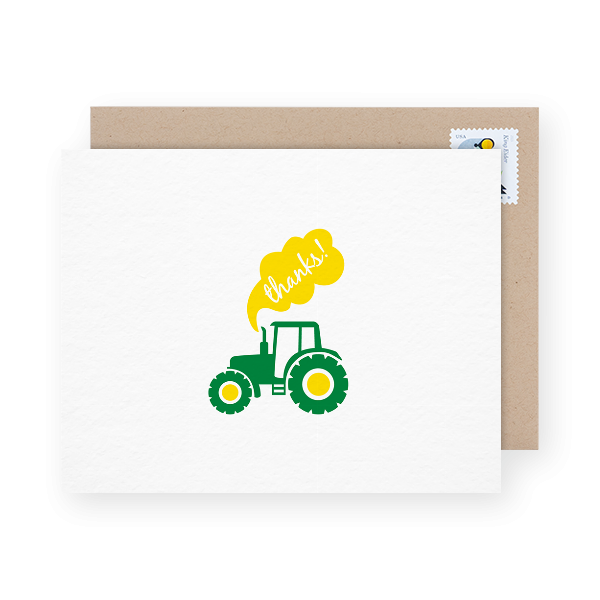 little toy tractor thanks card