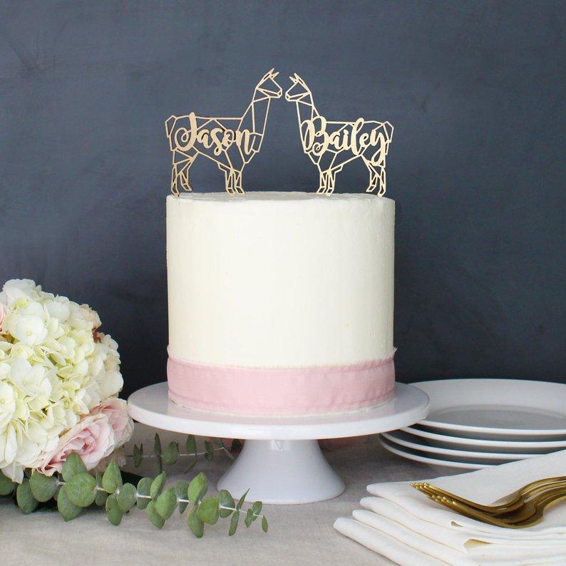 modern llama wedding cake topper