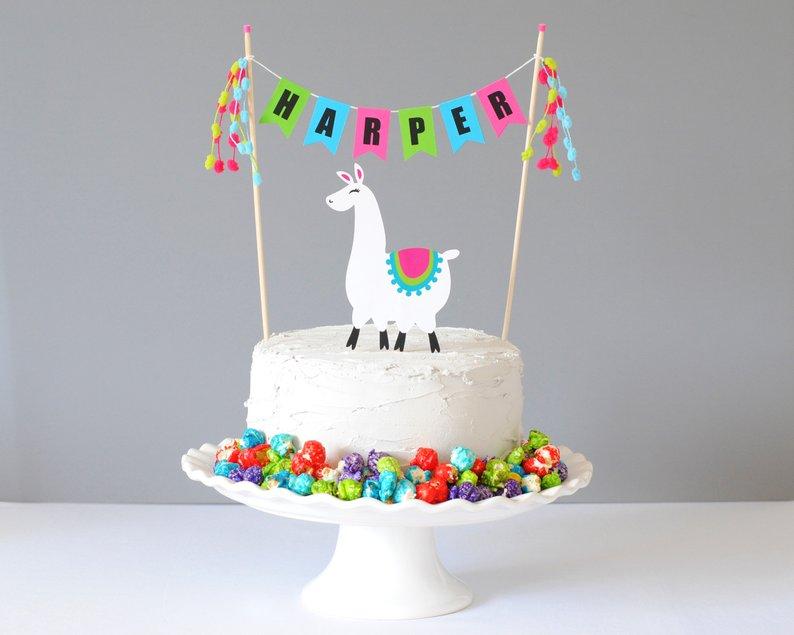 llama cake topper