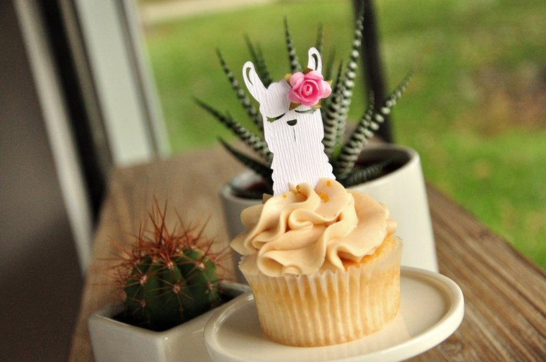 cute llama cupcake topper