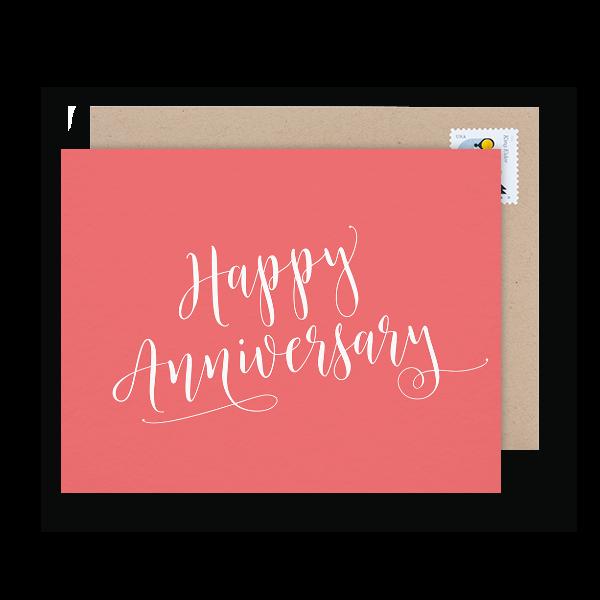 a classic script happy anniversary card