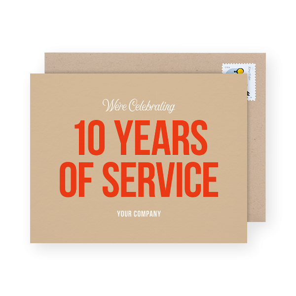 10 years of service business anniversary cards